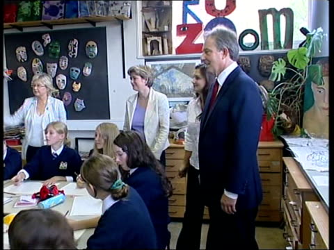 tony blair visit to city academy england london new cross haberdashers' aske's hatcham college ext tony blair mp followed by ruth kelly mp along as... - 14 15 years stock videos & royalty-free footage
