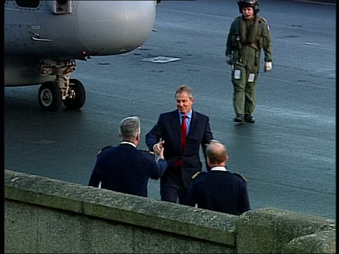 tony blair visits cadets and officers at dartmouth naval college england devon dartmouth ext general views of helicopter landing with prime minister... - dartmouth england stock videos & royalty-free footage