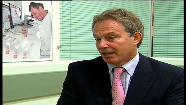 tony blair visits royal free hospital in london; england: london: royal free hospital: int tony blair mp interview sot - great problem we faced ten... - the world's end stock videos & royalty-free footage