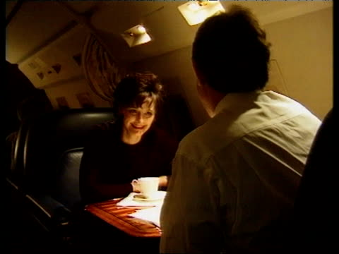 Tony Blair wife Cherie Blair and Political Advisor Alastair Campbell on board a private jet on the night Tony Blair's Labour Party won a landslide...