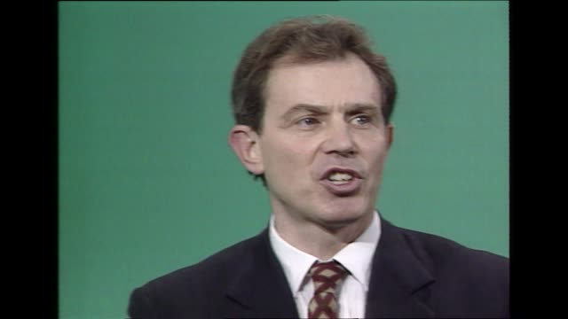 tony blair's first conference speech as labour leader end of new labour new britain speech and standing ovation in blackpool 1994 - anno 1994 video stock e b–roll