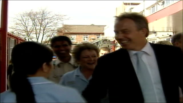 tony blair's last labour party conference; liverpool: blair followed by wife, cherie blair, along with nurses and other staff as visit hospital int... - last stock videos & royalty-free footage