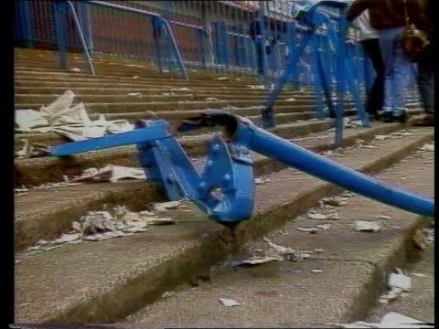 right to die high court decision april 1989 yorkshire sheffield cms buckled terrace railing at hillsborough football ground zoom in cms football... - neckwear stock videos and b-roll footage