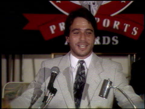 tony danza at the sports celebrity show press conference at the bel age hotel in west hollywood california on april 3 1990 - tony danza video stock e b–roll