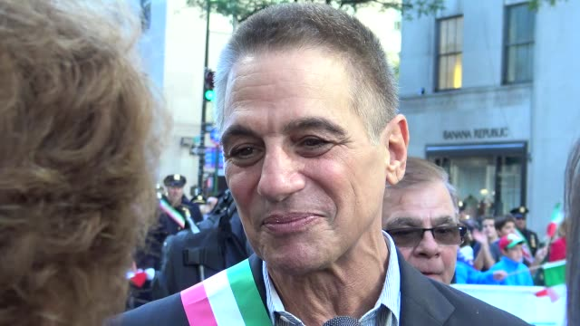 tony danza greets crowd during annual columbus day parade on 5th avenue midtown manhattan new york city usa - tony danza video stock e b–roll