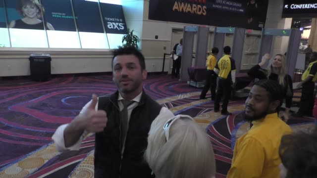 Tony Dovolani greets fans at the 53rd Academy of Country Music Awards Radio Awards radio row at MGM Grand Garden Arena in Las Vegas at Celebrity...