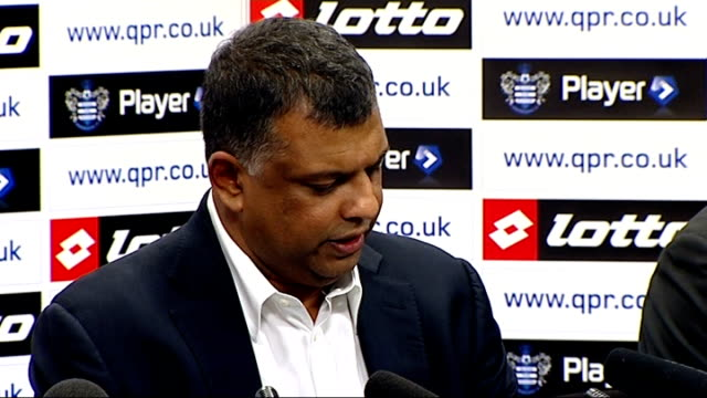 tony fernandes confirmed as new qpr owner int tony fernandes press conference sot i will do my best leave no stone unturned in trying to bring qpr to... - トニー・フェルナンデス点の映像素材/bロール