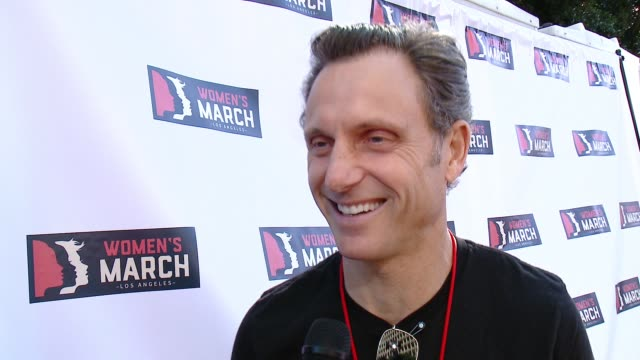 INTERVIEW Tony Goldwyn at 2018 Women's March Los Angeles on January 20 2018 in Los Angeles California