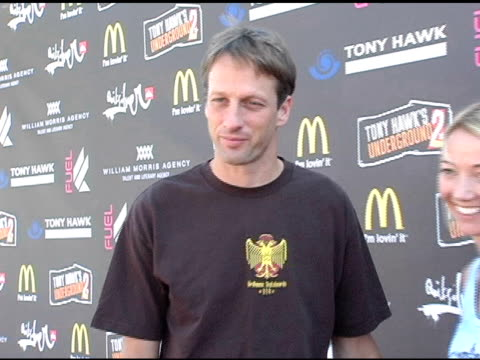tony hawk and lhotse merriam at the tony hawk stand up for skateparks benefit at pinz bowling alley in studio city california on october 3 2004 - studio city stock videos & royalty-free footage