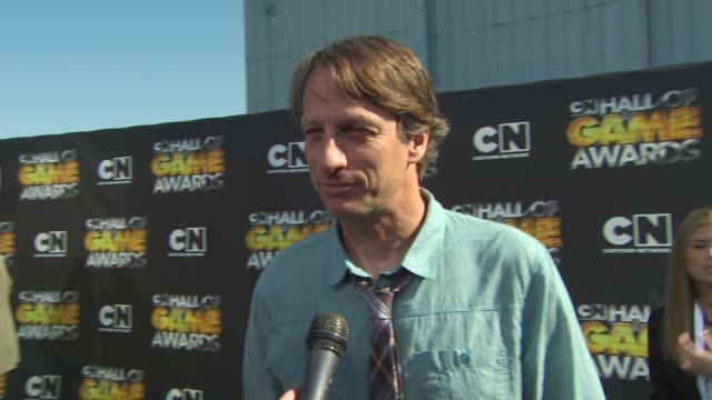 tony hawk on the fans on the award show on why he wanted to be involved in this event on who he's excited to meet and on his advice to young people... - tony hawk skateboarder stock videos and b-roll footage