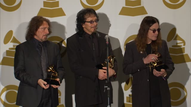 interview tony iommi ozzy osbourne geezer butler at 56th annual grammy awards press room at staples center on in los angeles california - ozzy osbourne stock videos & royalty-free footage