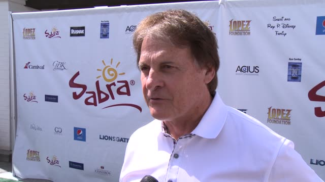 tony larussa on being a part of the afternoon at the 7th annual george lopez celebrity golf classic presented by sabra salsa at lakeside golf club on... - toluca lake stock videos & royalty-free footage