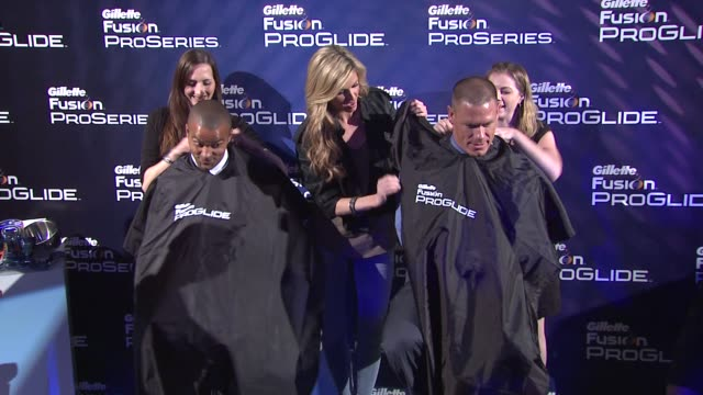 tony parker erin andrews john cena at the the gillette fusion proglide 'ultimate summer job' contest at new york ny - cena stock videos & royalty-free footage