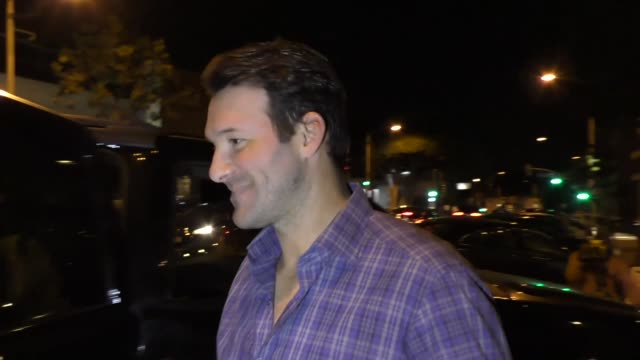 tony romo and jimmy kimmel outside craig's in west hollywood at celebrity sightings in los angeles on november 24 2017 in los angeles california - jimmy kimmel stock videos and b-roll footage
