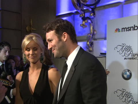 tony romo and wife, candice crawford, talking to the press at the white house correspondent's dinner. - sport stock videos & royalty-free footage