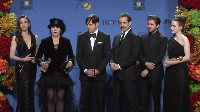 SPEECH Tony Shalhoub Amy ShermanPalladino and the cast of The Marvelous Mrs Maisel 75th Annual Golden Globe Awards Press Room at The Beverly Hilton...
