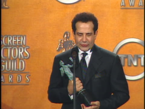 tony shalhoub, winner for outstanding actor in a drama series for monk at the 11th annual screen actors guild awards press room interviews at shrine... - shrine auditorium stock videos & royalty-free footage