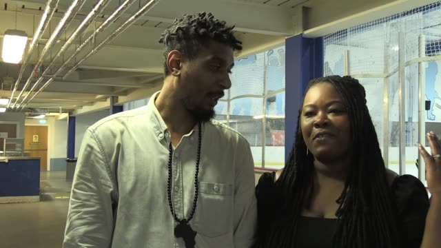tony shard a gas engineer and ice hockey player for the streatham chiefs and his fiancee legal advisor and figure skater nadine fontainepalmer speak... - ice skating stock videos & royalty-free footage