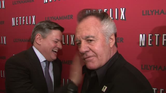 tony sirico on steven van zandt and his wig at north american premiere of lilyhammer, a netflix original series at crosby street hotel on 02/01/12 in... - スティーブン ヴァン ザント点の映像素材/bロール
