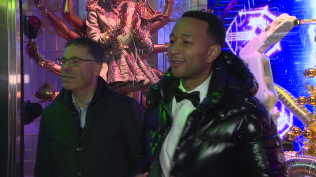 tony spring john legend and guests at bloomingdale's unveils holiday windows with special performance by john legend at bloomingdale's 59th street... - bloomingdales stock videos & royalty-free footage