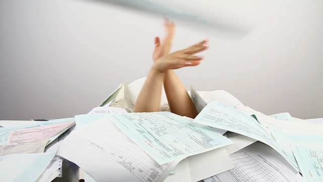too much paperwork - chaos stock videos & royalty-free footage