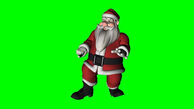 stockvideo's en b-roll-footage met toon santa stayin' alive - greenscreen - cadeau