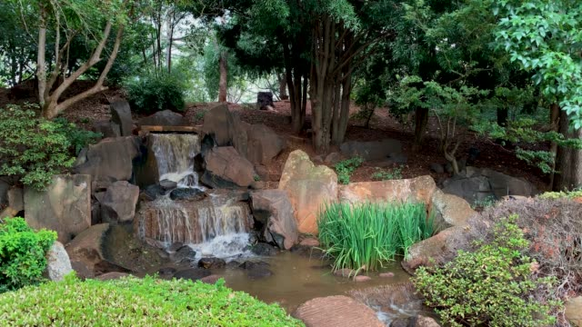 toowoomba queensland australia - waterfall at japanese garden - landscaped stock videos & royalty-free footage