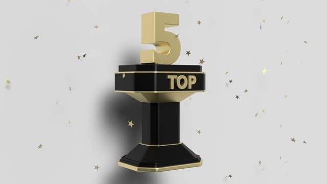 vidéos et rushes de fond d'animation 3d top 5 avec étoiles brillantes tombantes - chiffre 5