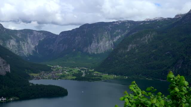 Top aerial view of Hallstatt village and lake, Austria