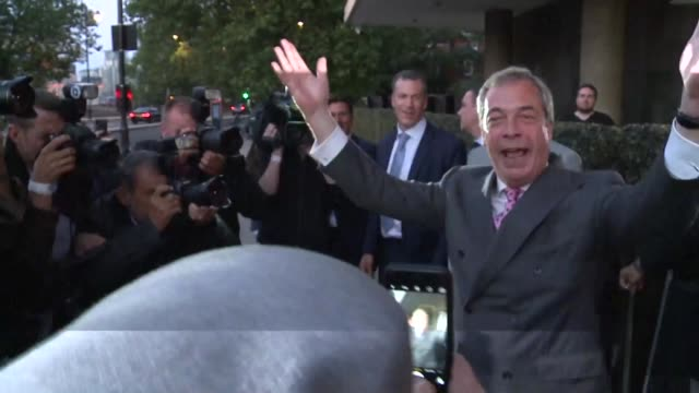 top anti eu campaigner nigel farage on friday celebrated a victory in britain's eu referendum on friday saying that prime minister david cameron and... - george osborne stock videos & royalty-free footage