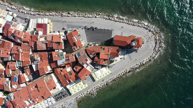 top down aerial drone footage of the piran old town in slovenia - slovenia stock videos & royalty-free footage