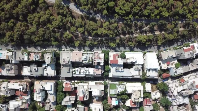 top down aerial footage of apartment buildings in athens, greece - lycabettus hill stock videos & royalty-free footage
