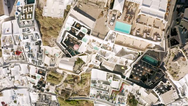 top down aerial footage of imerovigli in santorini, greece - cyclades islands stock videos & royalty-free footage