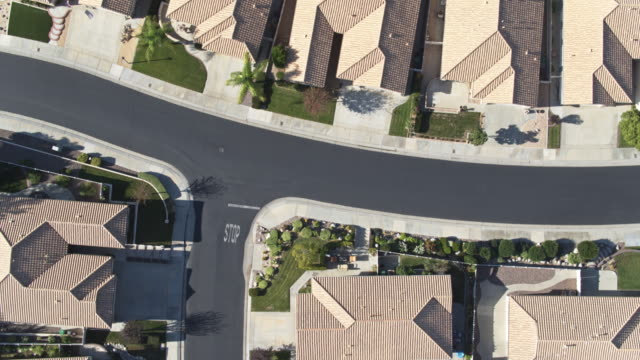top down aerial of suburban district - riverside california stock videos and b-roll footage