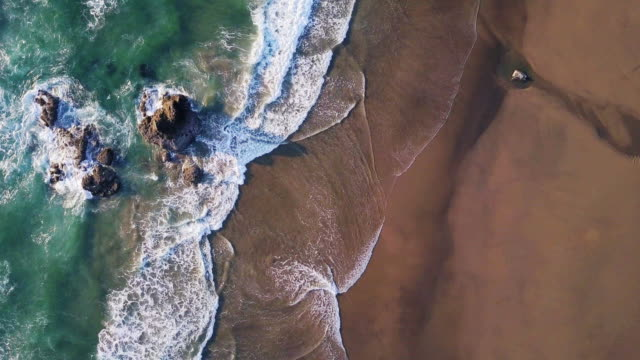 vídeos de stock e filmes b-roll de top down aerial view of dramatic oregon coastline - meio ambiente