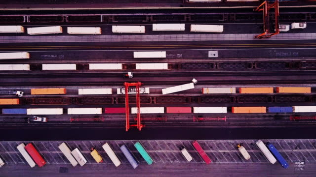 top down aerial view of intermodal rail yard - shunting yard stock videos and b-roll footage