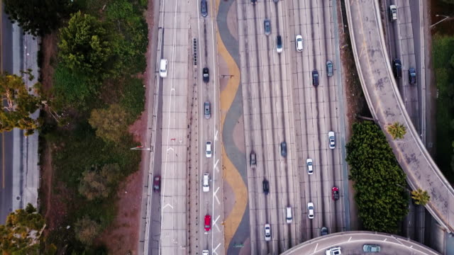 Top Down Drone Footage of Los Angeles Freeway Traffic