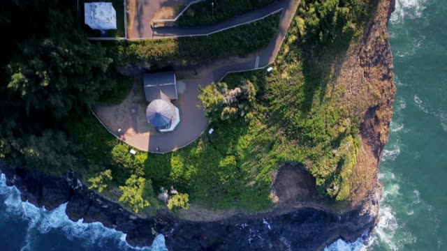 Top Down Drone Shot Climbing Above Cape Meares, Oregon