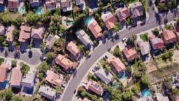 Top Down Drone Shot of California Suburbs