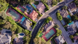 Top Down Shot of Affluent Residential Street