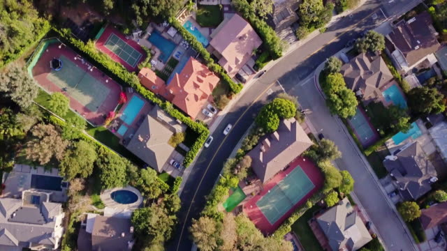 top down shot of affluent residential street - district stock videos & royalty-free footage