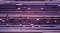 Top Down Shot of Freeway Traffic - Fast