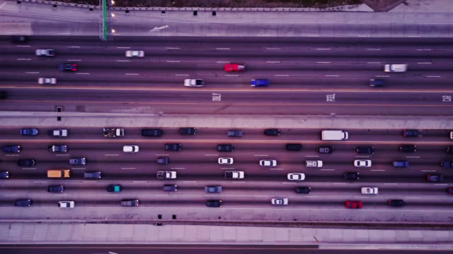 Top Down Shot of Freeway Traffic