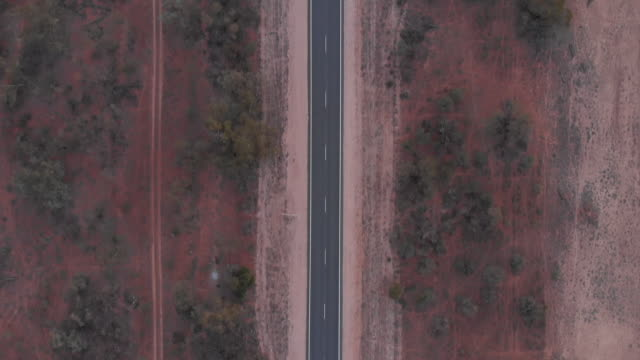 Top down shot of remote outback road