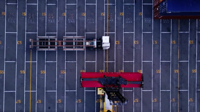 top down view of intermodal container loading - verkehrswesen stock-videos und b-roll-filmmaterial