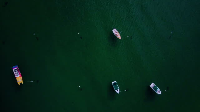 top down view of small boats on clear lake - californian sierra nevada stock videos and b-roll footage