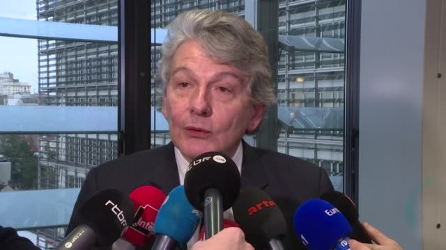 top eu official for digital policy thierry breton warns that big tech companies could face tougher rules and penalties in europe if they failed to... - big tech stock videos & royalty-free footage