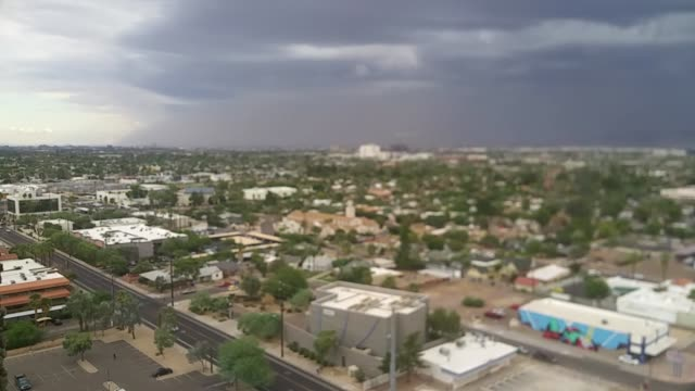 top level floor view of the incoming phoenix dust storm. - dust storm stock videos & royalty-free footage