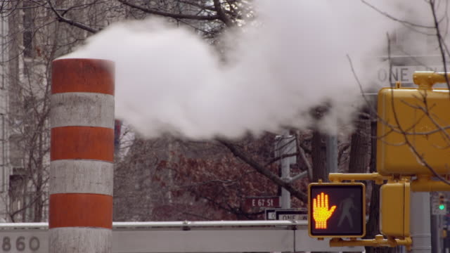 top of a smoking smoke stack near 68th street in manhattan - walk don't walk signal stock videos and b-roll footage