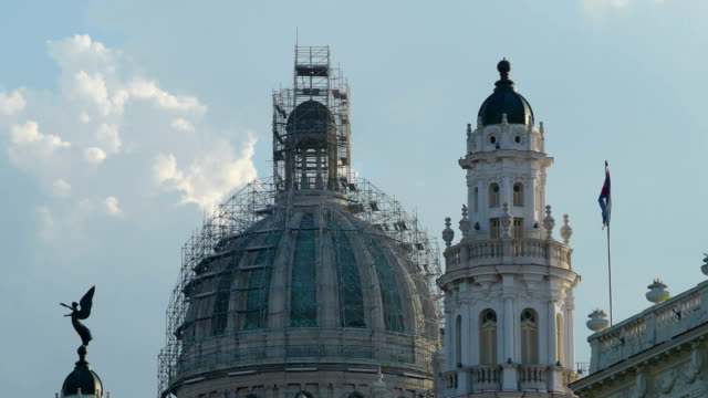 Top of Capitolio Building Covered by Scaffolding Closeup, Havana, Cuba
